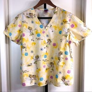 Disney Womens XL Yellow Tinkerbell Scrub Top
